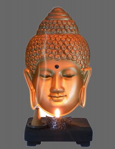 Buddha Gold Tea Candle Black Stone Base