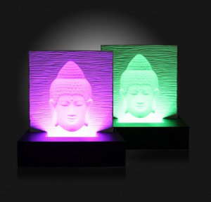 Buddha Ivory Base Relief RGB Black MDF