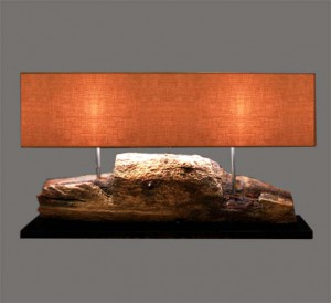 Table Lamp Teakwood Double Shade