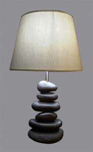 Table Lamp Batu Coklat White Shade